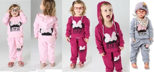 The-little-Girls-or-boys-sports-clothes-2012-kids-Lace-Minnie-clothes-sets-Children-Hoodie-Pants