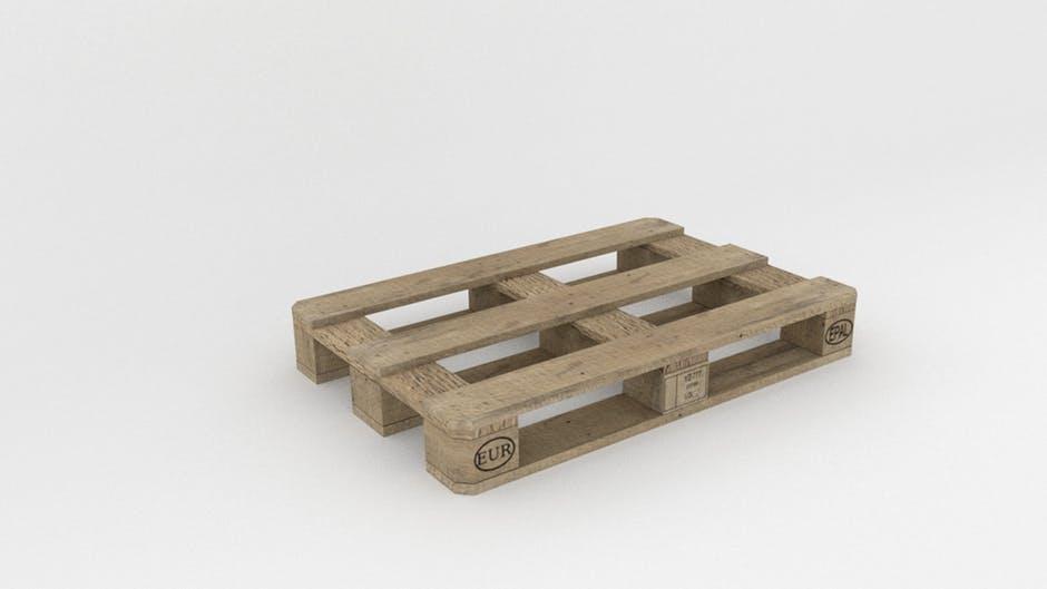 zdjęcie przedstawiające paletę drewnianą której ładunek można zabezpieczyć taśmą spinającą
